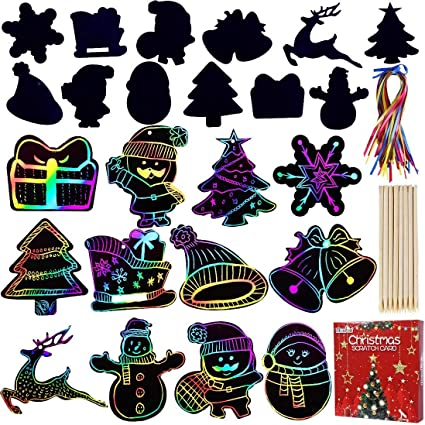 STEFORD 80PCS Christmas Scratch Paper,Xmas Rainbow Scratch Paper Art Craft Kits with Wood Stick and Ribbons for Kids Gift Crafts