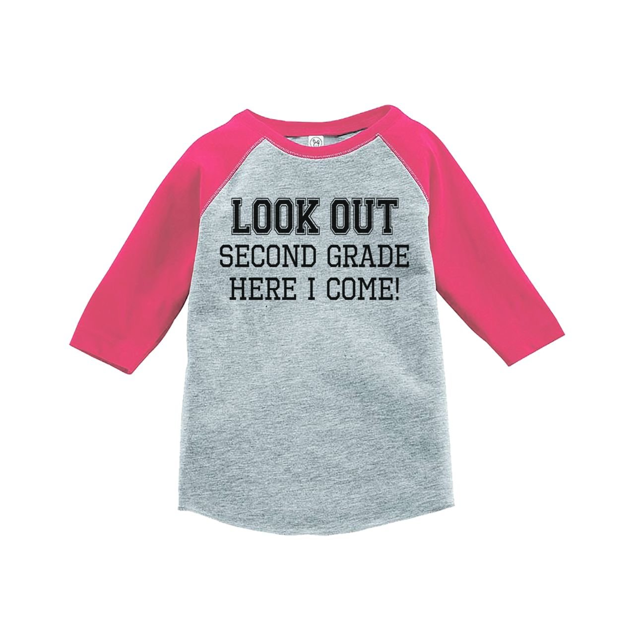 Custom Party Shop Girls Look Out 2nd Grade Pink Baseball Tee