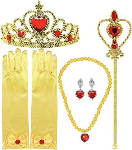 Princess Dress up Accessories 5 Pieces Set for Belle //Rapunzel Scepter Necklace