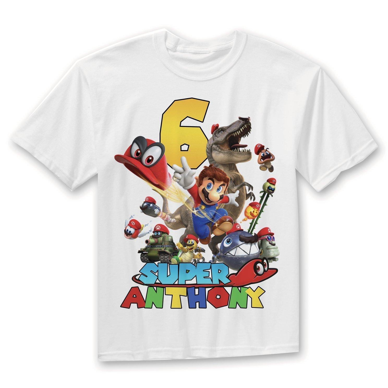 Super Mario Birthday Shirt, Mario Odyssey Birthday Shirt, Super Mario Odyssey Party, Personalized Birthday t-shirt, Custom Family Shirts