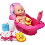 "Baby Doll Bathtub - Tub Set Featuring 12"" All Vinyl Doll, Bath Tub with Detachable Shower Spray, Washcloth, Toy Soap Bottle and Shower Gel, and Rubber Duck, The Best Doll Bath Toy Set for Kids"