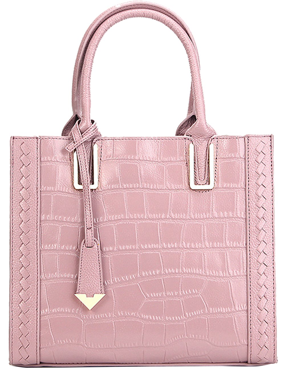 Menschwear Womens Genuine Leather Top Handle Satchel Bag Pink by Menschwear (Image #3)