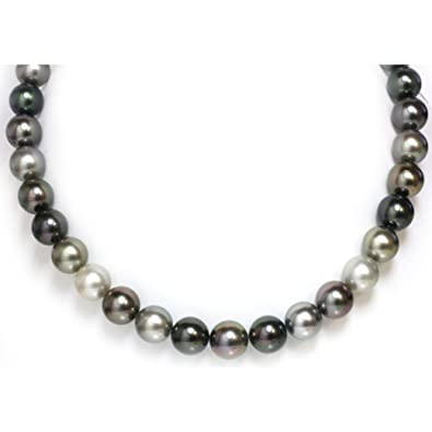 1a450ebb65d60 Amazon.com: Tahitian South Sea Pearl Necklace 12 - 11 mm AAA Multi ...