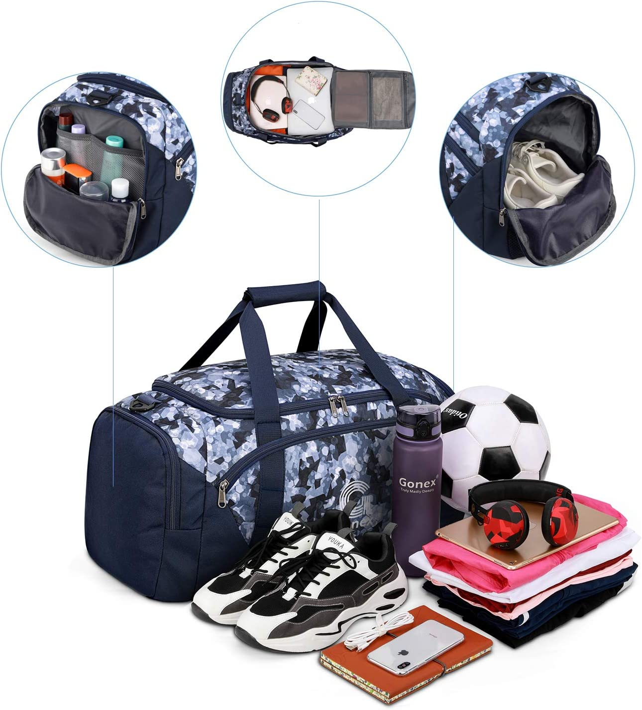 Gonex Stylish Sports Gym Bag with Shoe Compartment and Waterproof Wet Pocket 40L Travel Duffle Holdall Bag