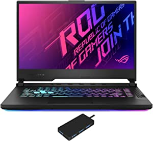"ASUS ROG Strix G15 G512LW Gaming and Entertainment Laptop (Intel i7-10750H 6-Core, 32GB RAM, 1TB PCIe SSD, NVIDIA RTX 2070, 15.6"" Full HD (1920x1080), WiFi, Bluetooth, Win 10 Pro) with USB Hub"