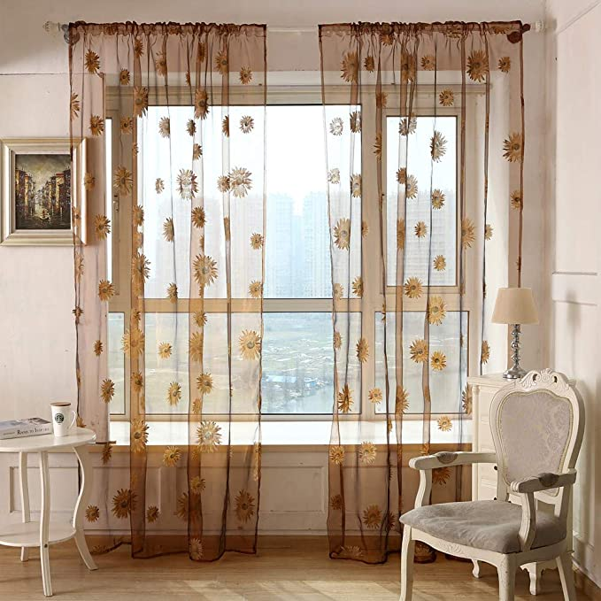 Amazon.com: Cortinas transparentes para salón, cortina de ...