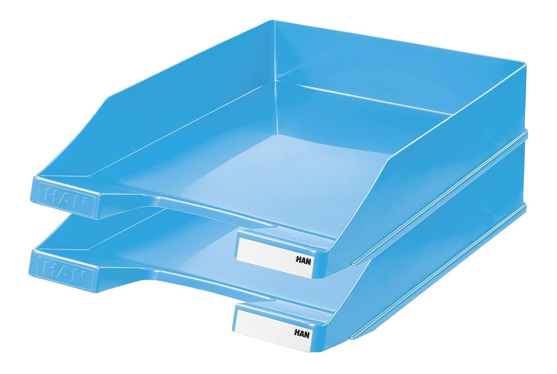 HAN Briefablage KLASSIK 1027-X-14 in Blau/Hochwertige, stapelbare Ablage im modernen Design/Für Briefe & Papiere bis Format A4–C4, 10 Stück 10 Stück