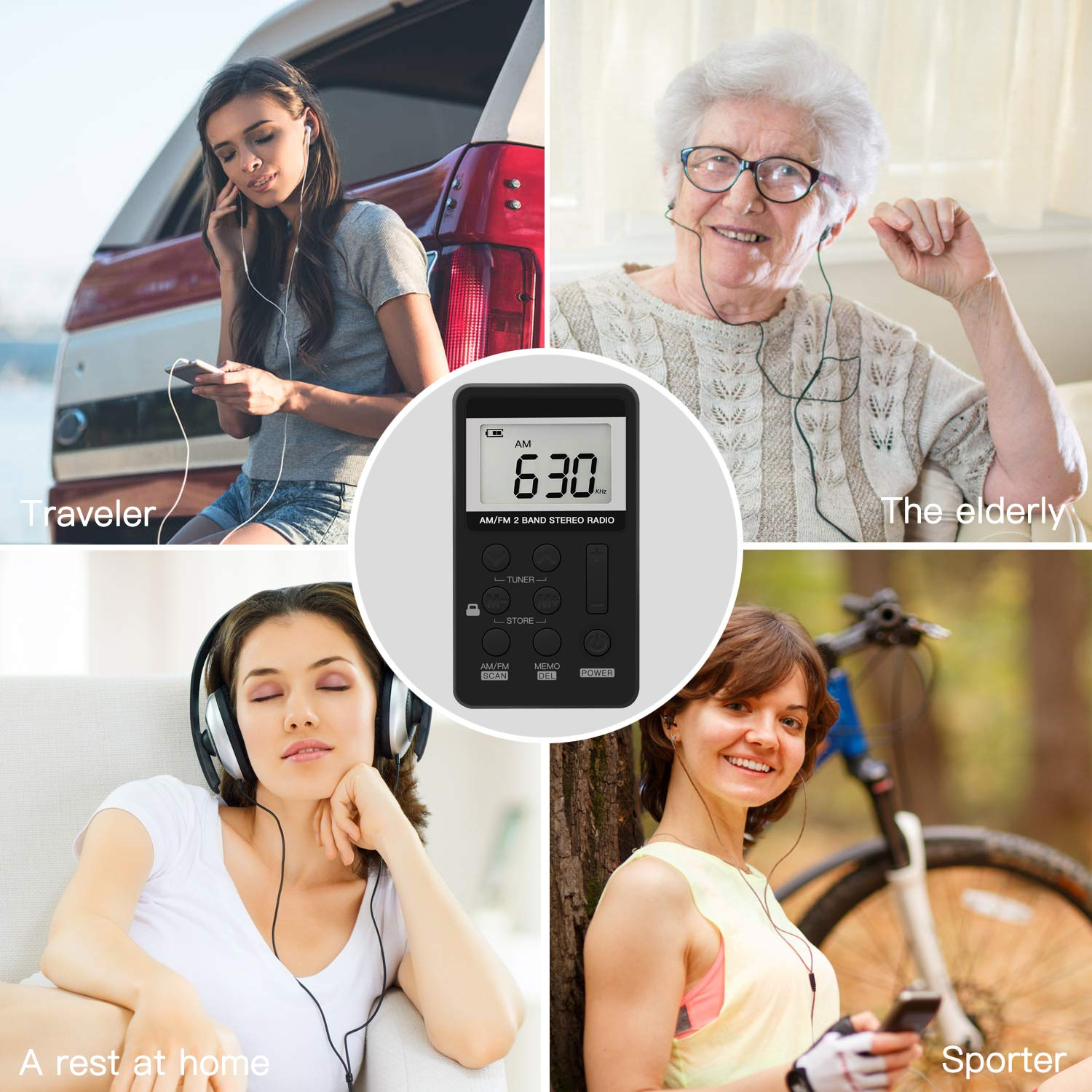 Upgrade Portable Radio, Digital Tuning AM/FM Portable Stereo Personal Radio with Earphone for Walk/Jogging/Gym/Camping by ANTOGOO (Image #4)