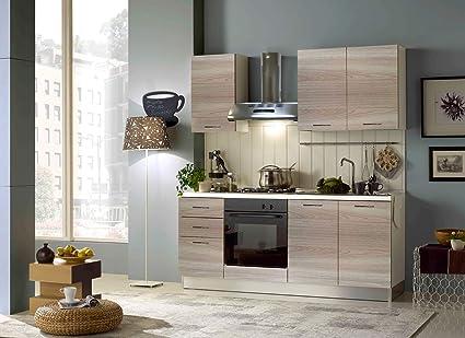 Arredocasa Serafino Cucina Lineare Momo 195 Cm Con Elettrodomestici Nella Finitura Olmo Amazon It Casa E Cucina