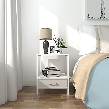 Modern Side Table Modern Bedside Table Design.Lifewit Small Nightstand Bedside Table End Table With Fabric Drawer For Bedroom Side Table Sofa Table Modern Design Sturdy And Durable White