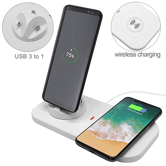 78f9fe961f9 QI Wireless Fast Charging Station Dock Pad & 3 in 1 Multiple Phone Charger  Phone Charging