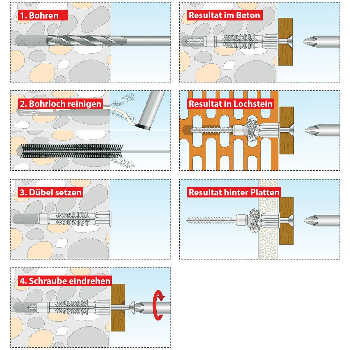 016260011 TOX Allzweckd/übel mit Kragen Deco 5 x 25 mm in Runddose D/übel f/ür fast alle Baustoffe 120 St/ück