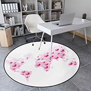 Round Rug 3.3 Ft Anti-Slip Rug Home Decor for Living Room, Global Peace Theme World Map Dotted with Hearts Love Planet Earth, Baby Pink White Fuchsia