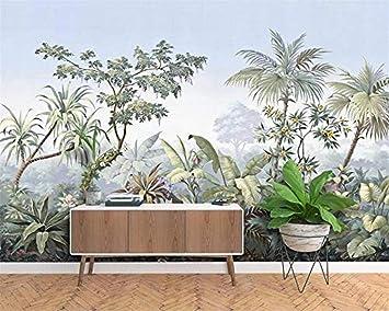 Papel tapiz mural fotográfico 3D estilo europeo pintado a mano jardín madera bosque tropical plátano palmera mural retro papel pintado a papel pintado pared dormitorio autoadhesivo wall-400cm×280cm: Amazon.es: Bricolaje y herramientas