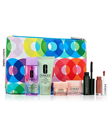 Clinique 7pc Make up Skin Care Gift Set Bold Pops punch New sealed 70 Value