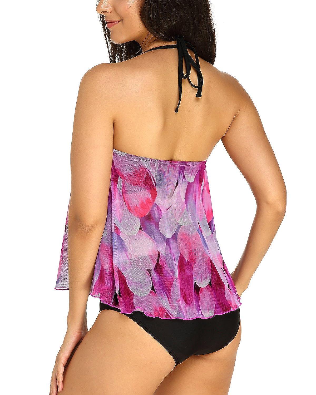 KISSLACE Femme Maillot de Bain /Él/égant Amincissant Grande Taille Tankini Push Up 2 Pi/èces Slim Bikini Cache Ventre Imprim/é Chic