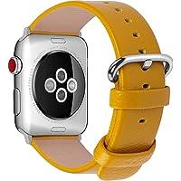 Fullmosa YAN Correa Cuero Compatible Apple Watch/iwatch Series 5/4/3/2/1, Apple Watch Correa/Pulsera/Banda 38mm 40mm 42mm 44mm, Amarillo, 38mm/40mm