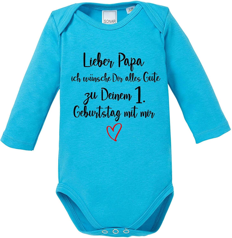 Geburtstag mit Mir Body Baby Langarm Bio Baumwolle EZYshirt/® Lieber Papa ich w/ünsche dir Alles Gute zum 1