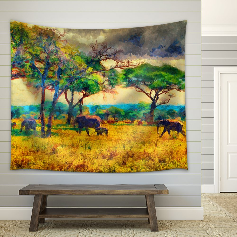 Colorful Impressionist African Landscape with Elephants Oil Painting ...