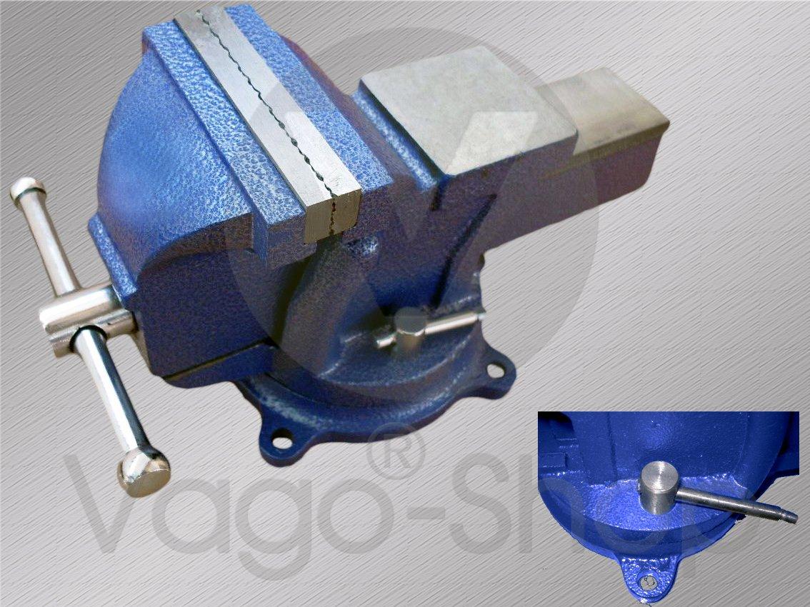 Schraubstock Parallel 125 mm 5' drehbar 360° für Werkbank Amboss Drehteller BLAU vago