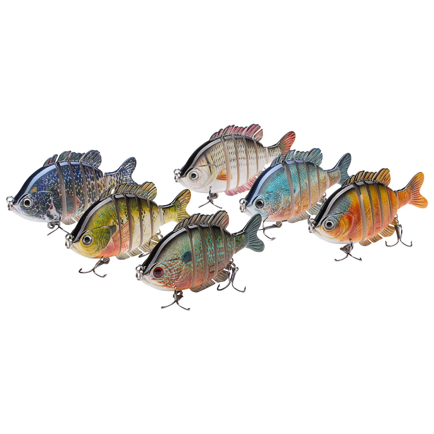Bassdash SwimPanfish Multi Jointed Panfish Bluegill Swimbaits Topwater Hard Bass Fishing Crank Lure 3.5in/0.85oz (Pack of 6 Colors) by Bassdash