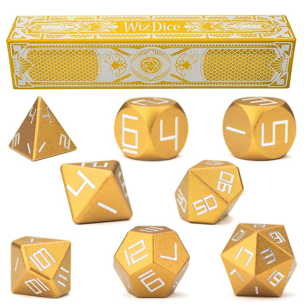 Conjunto de 8 aluminio de precisión Masterwork polyhedrals con grabado con láser Strongbox por Wiz dados – elegir 8 colores anodizado (dorado)