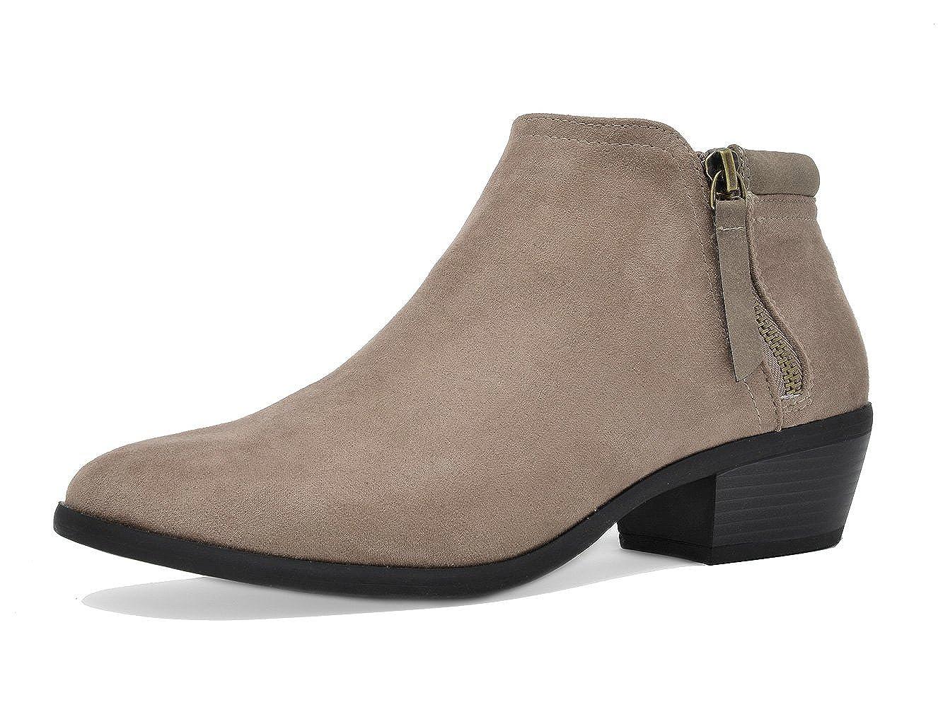 02-TAUPE TOETOS Women's Cowboy Block Heel Side Zipper Ankle Booties