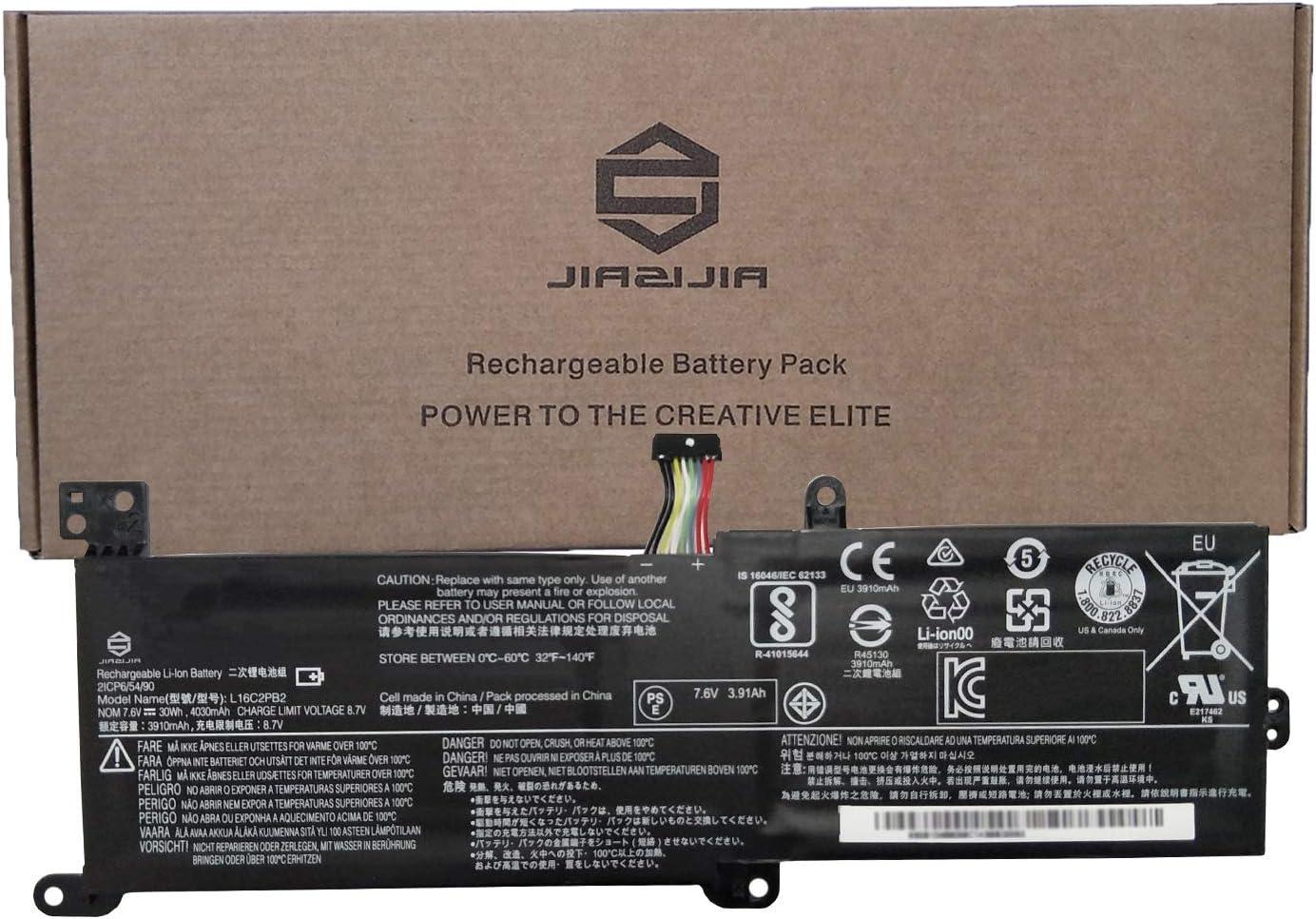 JIAZIJIA L16C2PB2 Laptop Battery Replacement for Lenovo IdeaPad 320-14AST/IAP/IKB/ISK 320-15ABR/AST/IAP/IKB Series L16L2PB1 L16L2PB2 L16L2PB3 L16S2PB1 L16C2PB1 L16M2PB1 L16M2PB2 L16M2PB3 7.6V 30Wh