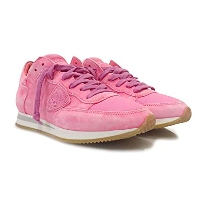 Philippe Model Damen Sneaker Low Tropez LD Neon Fuxia aus Leder Wildleder  in Neon- 4cefcddc8d2