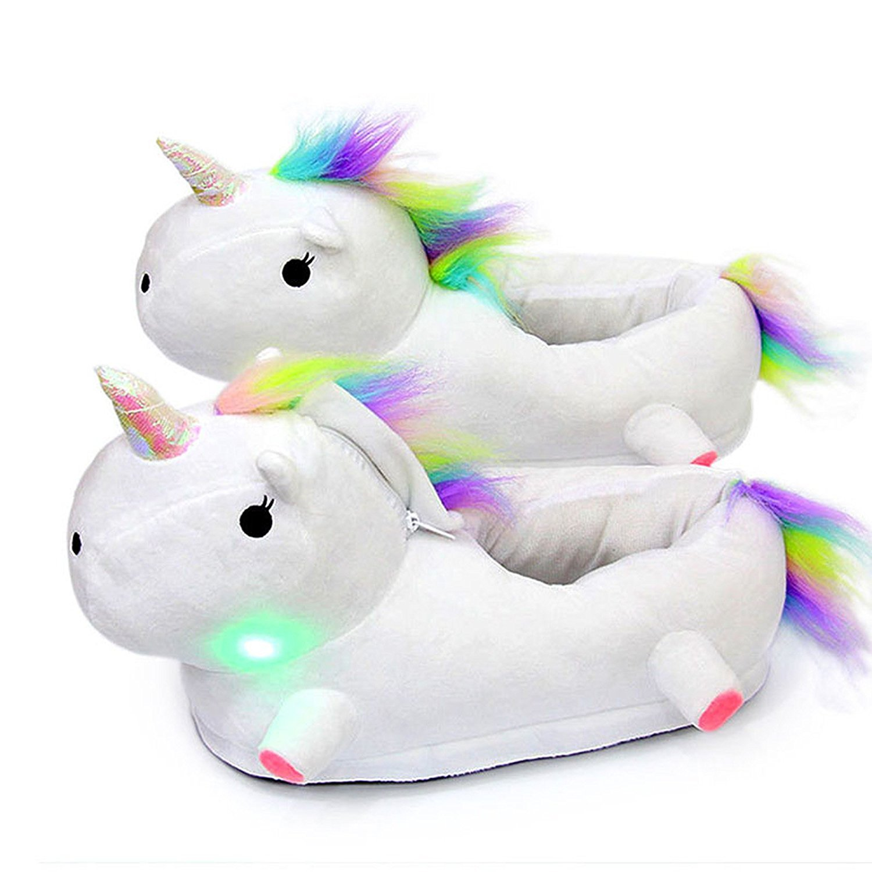 a22d1dd0549044 AILIGAITE Chaussons Licorne avec LED Unicorn Pantoufle Peluche Chaussures  de Maison Chaud Hiver pour Enfants