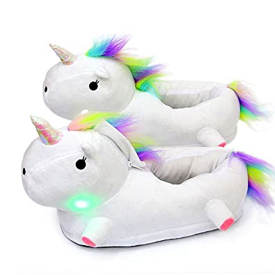 code promo cc8e4 5890a LED Licorne Chaussons Unicorn Peluche Pantoufle Slip-on Slippers Adulte  Taille Cosplay Chaussure Animal