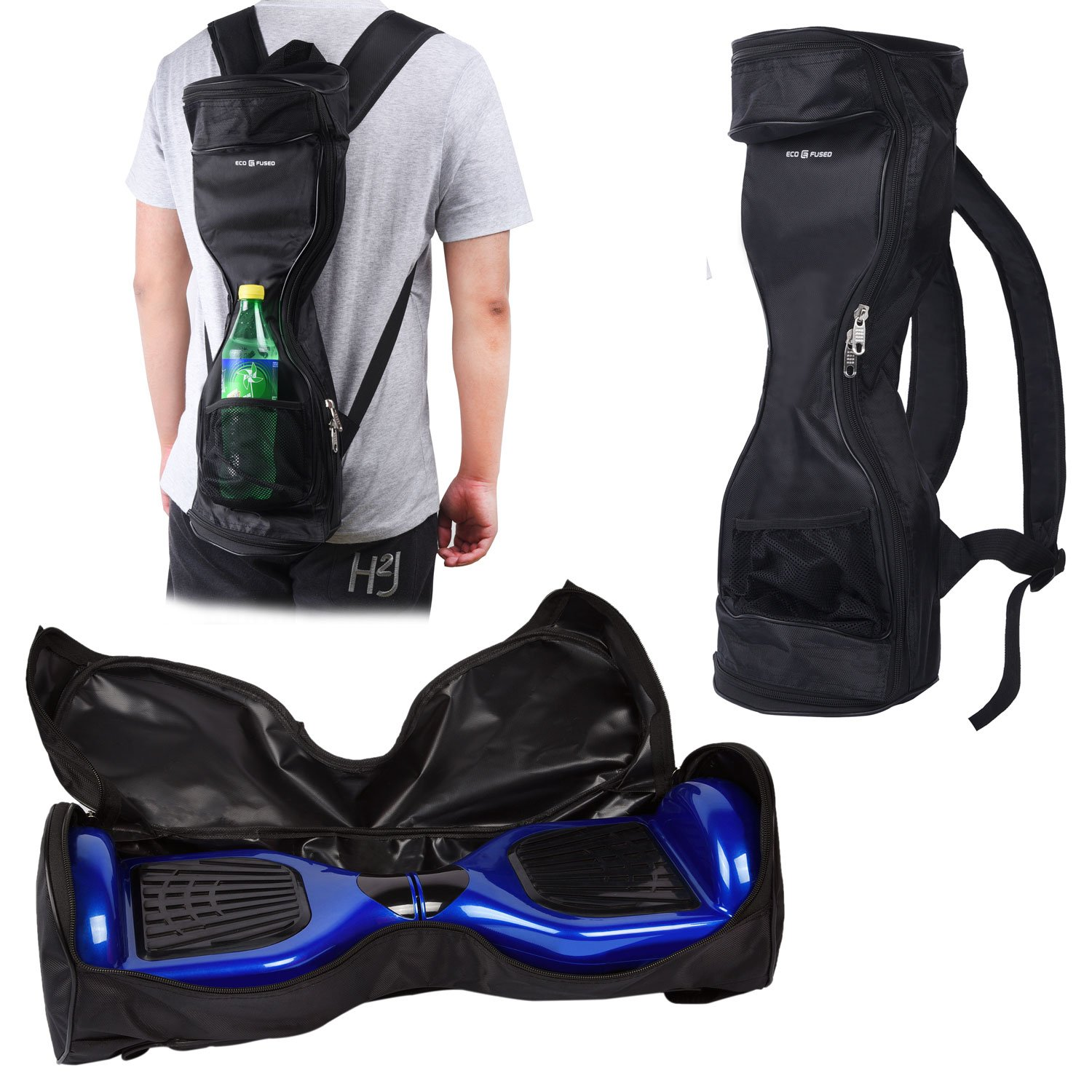 Waterproof Backpack to Carry/Store your drifting board (Two Wheels Smart Balance Board Scooter Electric Self Smart Drifting Board) - Mesh Pocket - Adjustable Shoulder Straps - Carry Handle - Black