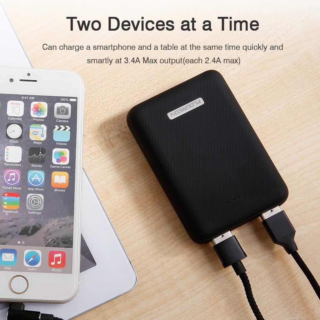 FLOUREON Caricabatterie Portatile,Batteria Esterna 10000mAh,Powerbank Solare ed Impermeabile per Uso di Emergenza con 2 lampade a LED e 2 Uscite di USB per Cellulare,Tablet ECC.Colore Arancio