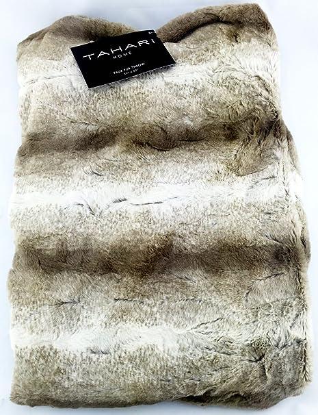 Tahari Home Decorative Faux Fur Throw Blanket Beige Amazoncouk Mesmerizing Tahari Throw Blanket