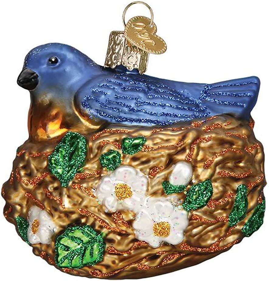 Old World Christmas Ornaments Bird in Nest Glass Blown Ornaments for Christmas Tree