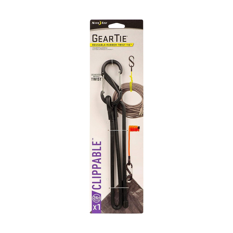 riutilizzabile Nite Ize inseribile Gear Tie include s-biner GLC24-31-R3 61/cm giallo neon
