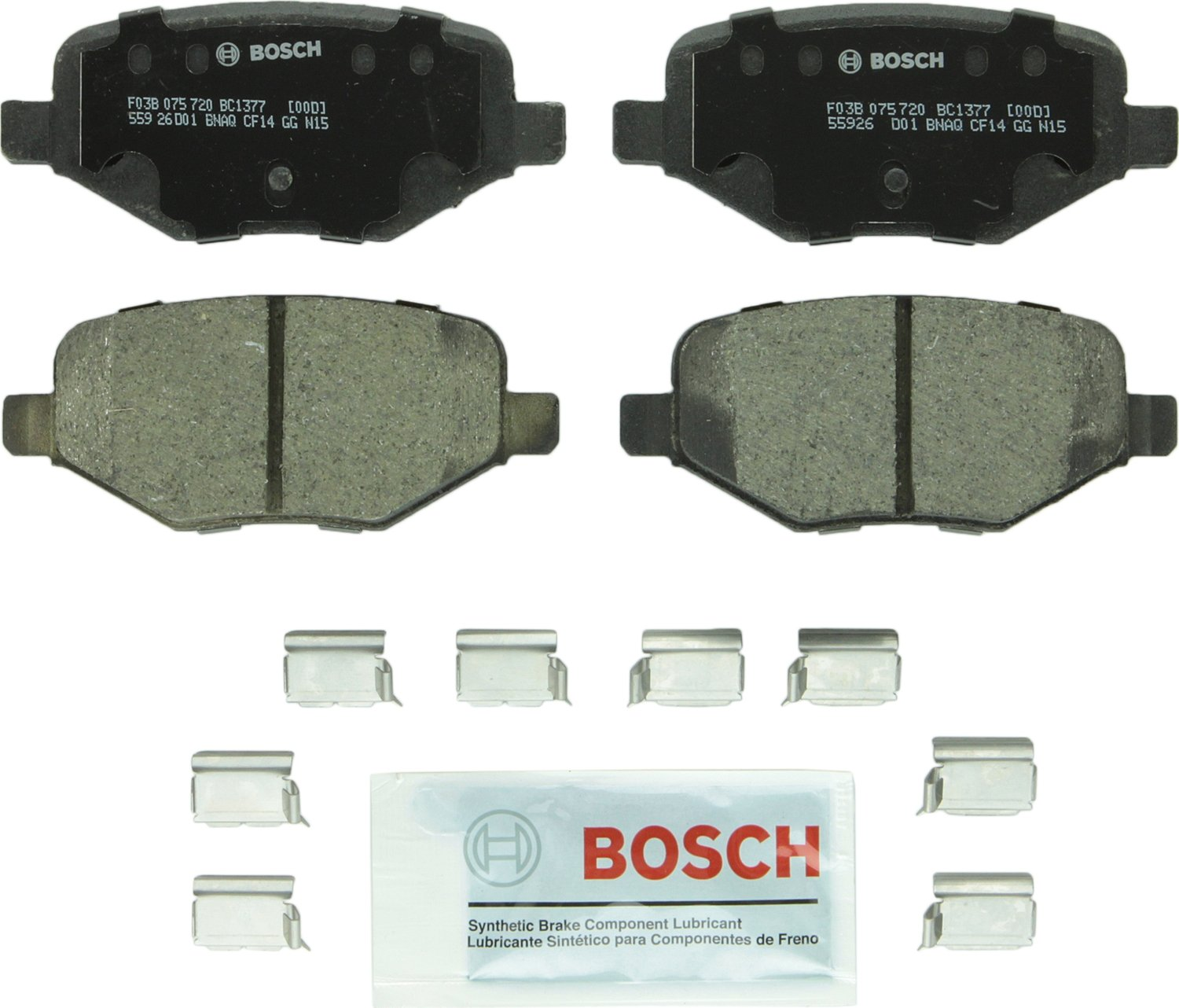 FRONT Taurus and Lincoln MKS Flex MKT Vehicles Bosch BE1611H Blue Disc Brake Pad Set with Hardware for Select Ford Explorer