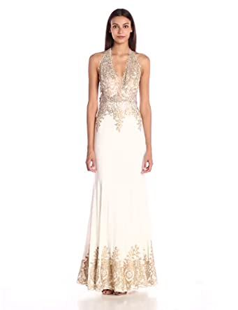 JVN by Jovani Women\'s Embellished White and Gold Fitted Dress at ...