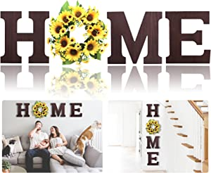 TOMEKON Wall Hanging Wood Home Letters, Decorative Wooden Home Sign with Artificial Sunflower Wreath for O, Rustic Wall Decor Art, Farmhouse Wall Decoration for House Living Room Kitchen Entryway