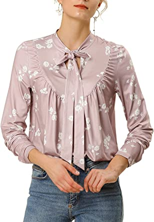 Allegra K Camisa Blusa Floral Cuello con Corbata Manga Larga para ...
