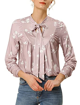 Allegra K Camisa Blusa Floral Cuello con Corbata Manga Larga ...
