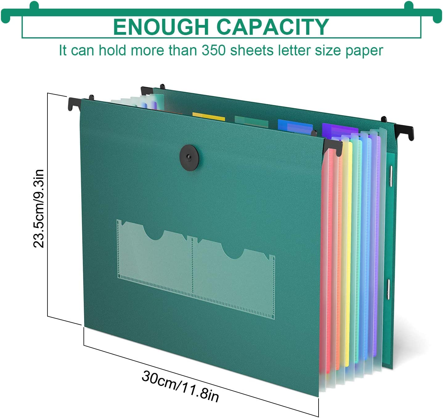 Rainbow Paper Document Organizer with 35 Pocket 5Pack Retractable Hooks Assorted Colors Hanging Organizer File Folders Plastic Accordion File Expanding File Folder Filing Cabinet Letter Size