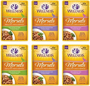 Wellness Healthy Indulgence Grain Free Naturally Delicious Everyday Entrees For Cats 3 Flavor Variety 6 Pouch Bundle: (2) Chicken & Chicken Liver Recipe In a Rich Gravy, (2) Turkey & Chicken Recipe In A Sumptuous Gravy, and (2) Salmon & Tuna Recipe In A Savory Broth, 3 Oz. Ea. (6 Pouches Total)