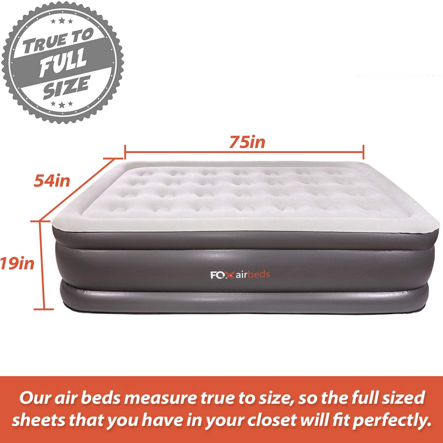 Best Inflatable Bed By Fox Airbeds - Plush High Rise Air Mattress in King, Queen, Full and Twin (Full) by Fox Air Beds (Image #2)