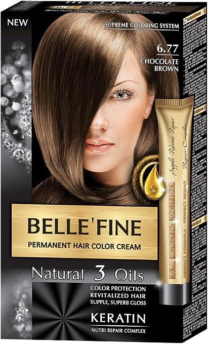 BELLEFINE® - Black Series - Tinte permanente natural - Con 3 aceites y queratina - Castaño chocolate