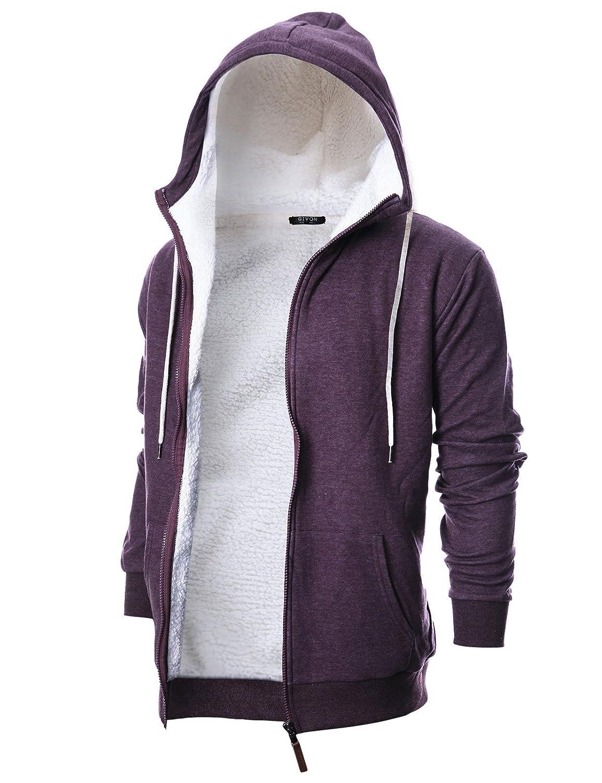 Dcf016purple Small GIVON Mens Slim Fit Long Sleeve Thermal Faux Fur Zipup Hoodie with Kanga Pocket