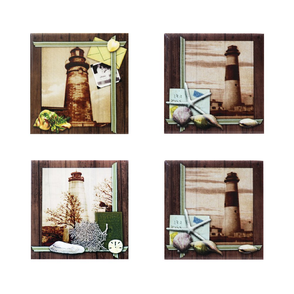 New Decorative Ceramic Art Tile Coaster Set, Coastal Memories, 4-Piece Assort. Set, Size 4''x4'', 35275 BY ACK