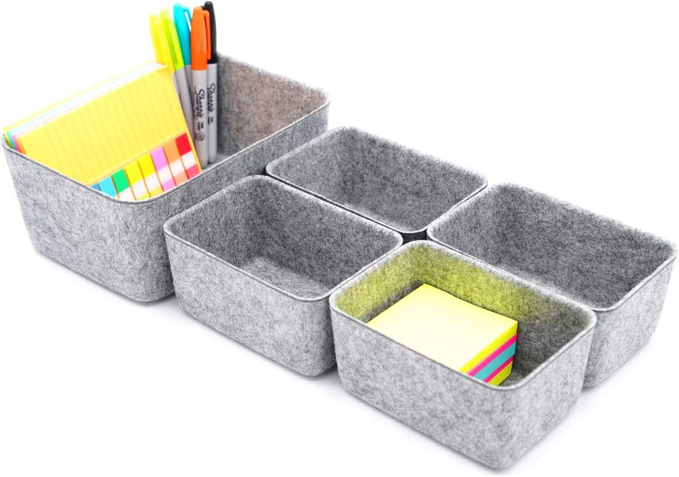 Welaxy Drawer organizers dividers storage bins office organizer bin gifts ideas, 5 pack (Gray)
