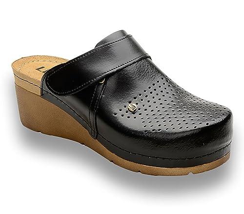 Leon 1001 Zuecos Zapatos Zapatillas de Cuero Para Mujer  Amazon.es  Zapatos  y complementos be0315cb65e