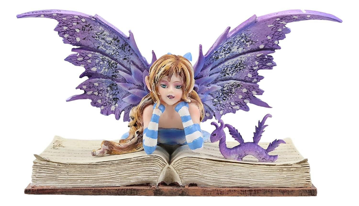 """Ebros Amy Brown Purple Lavender Book Worm Fairy with Pet Dragon Statue 7.25"""" Long Fantasy Mythical Reading Faery FAE Magic Watercolor Collectible Decor Figurine"""